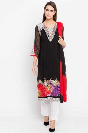 Lovely Black Cotton Plus Size Readymade Punjabi Salwar Suit With Faux Chiffon Dupatta