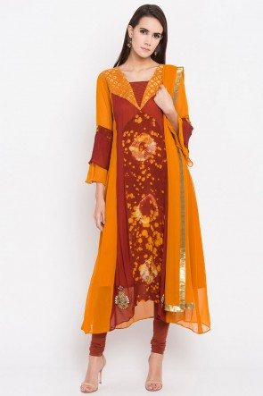 Mustard Faux Georgette Plus Size Readymade Punjabi Salwar Suit With Faux Chiffon Dupatta