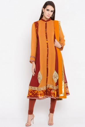 Desirable Mustard Faux Georgette Plus Size Readymade Punjabi Salwar Suit With Faux Chiffon Dupatta