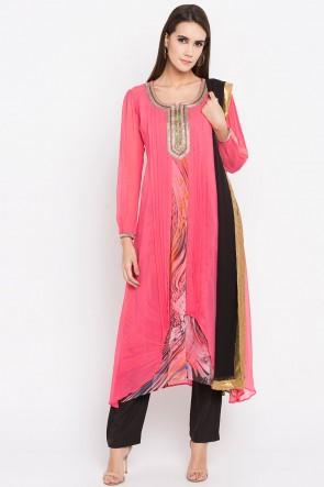 Pink Faux Georgette Plus Size Readymade Punjabi Salwar Suit With Faux Chiffon Dupatta