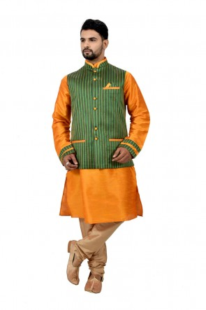 Orange and Green Art Silk Kurta Pajama With Jacket