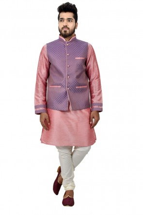 Pink and Blue Art Silk Kurta Pajama With Jacket