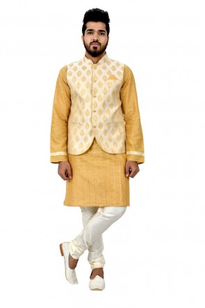 Yellow and Cream Art Silk Kurta Pajama With Jacket