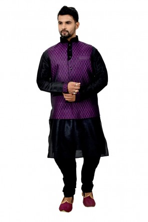 Classic Black and Purple Art Silk Kurta Pajama With Jacket