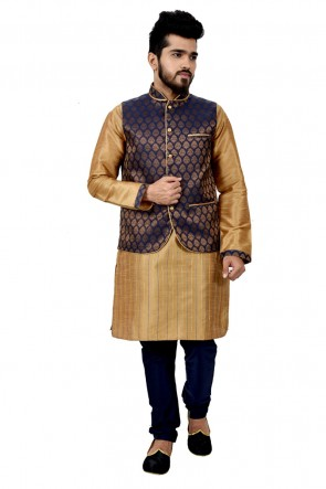 Lovely Golden and Blue Art Silk Kurta Pajama With Jacket
