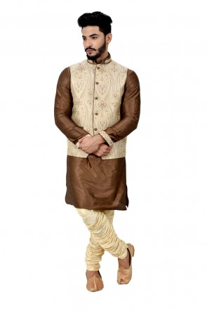 Brown and Cream Art Silk Kurta Pajama With Jacket