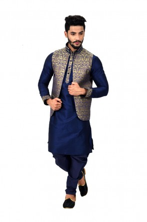 Charming Blue Art Silk Kurta Pajama With Jacket