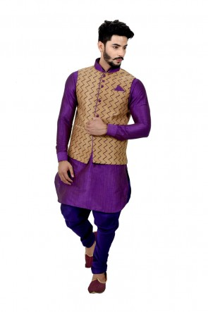 Stylish Purple and Beige Art Silk Kurta Pajama With Jacket