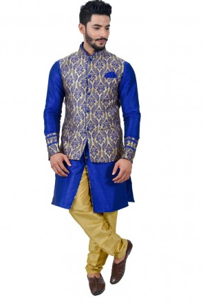 Admirable Blue Art Silk Kurta Pajama With Jacket