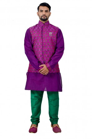Charming Purple Art Silk Kurta Pajama With Jacket