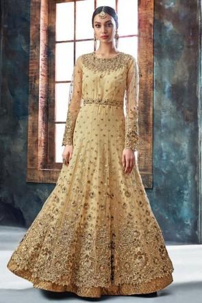 Beige Net Embroidered Anarkali Salwar Suit With Chiffon Dupatta