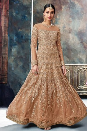 Beautiful Brown Net Embroidered Anarkali Salwar Suit With Chiffon Dupatta