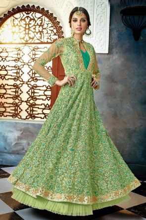 Admirable Green Net Embroidered Anarkali Salwar Suit With Chiffon Dupatta