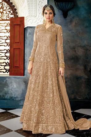 Brown Net Embroidered Anarkali Salwar Suit With Chiffon Dupatta