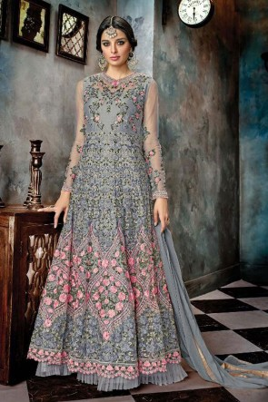 Grey Net Embroidered Anarkali Salwar Suit With Chiffon Dupatta