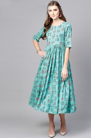 Aqua Cotton Printed Casual Kurti
