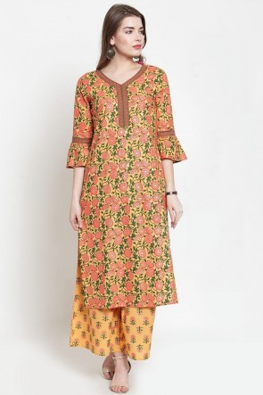 Orange Cotton Casual Printed Kurti