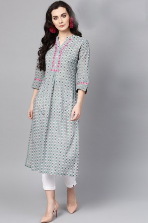 Grey Cotton Printed Casual Kurti