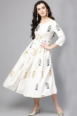 Printed White Cotton Kurti