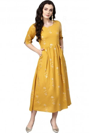 Cotton Yellow Printed Casual Kurti