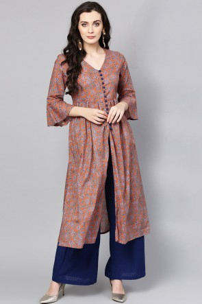 Rust Cotton Printed Casual Kurti