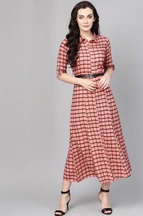 Beautiful Peach Cotton Printed Casual Kurti