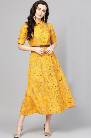 Stylish Yellow Cotton Printed Casual Kurti