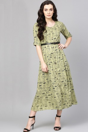 Marvelous Sea Green Rayon Printed Casual Kurti