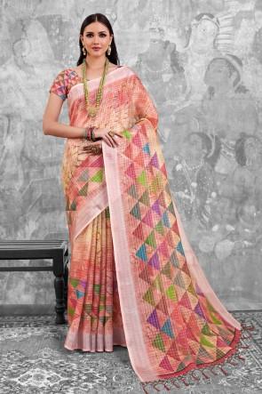 Peach Digital Printed Linen Cotton Saree With Linen Cotton Blouse