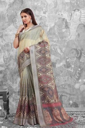 Supreme Grey Digital Printed Linen Cotton Saree With Linen Cotton Blouse