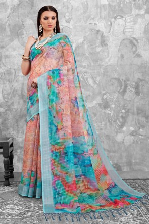 Sky Blue and Pink Digital Printed Linen Cotton Saree With Linen Cotton Blouse