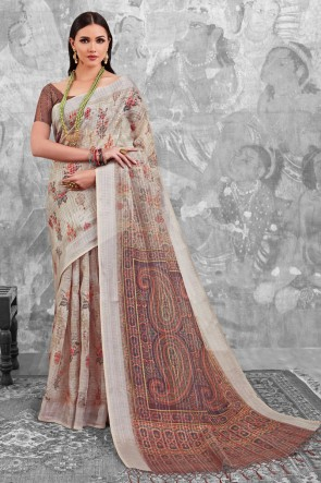 Beautiful Beige Digital Printed Linen Cotton Saree With Linen Cotton Blouse