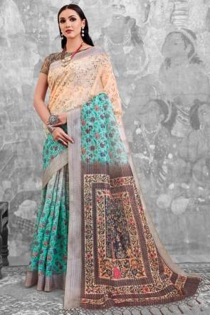 Optimum Sky Blue Digital Printed Linen Cotton Saree With Linen Cotton Blouse