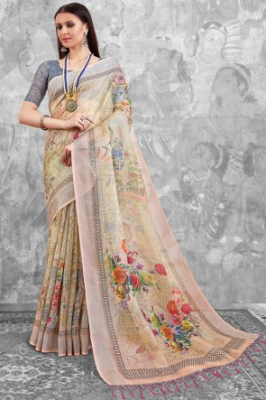 Stylish Peach Digital Printed Linen Cotton Saree With Linen Cotton Blouse