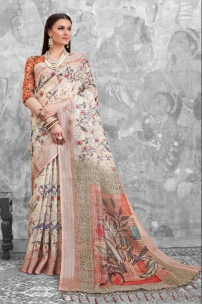 Lovely Cream Digital Printed Linen Cotton Saree With Linen Cotton Blouse