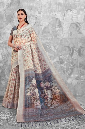 Cream Digital Printed Linen Cotton Saree With Linen Cotton Blouse