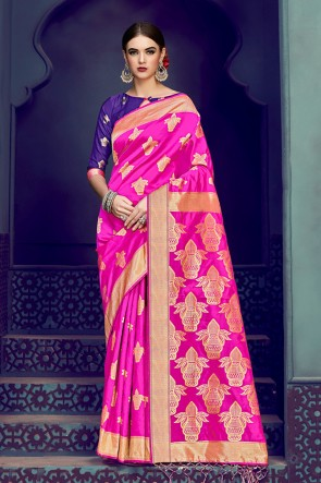 Gorgeous Magenta Banarasi Silk Jacquard Work Saree With Banarasi Silk Blouse