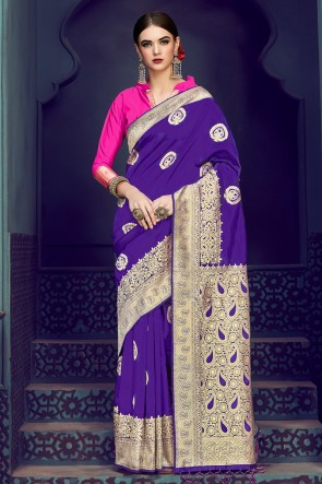 Violet Banarasi Silk Jacquard Work Saree With Banarasi Silk Blouse