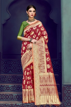 Excellent Maroon Banarasi Silk Jacquard Work Saree With Banarasi Silk Blouse