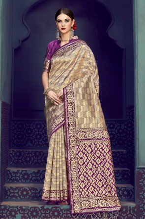 Purple and Golden Banarasi Silk Jacquard Work Saree With Banarasi Silk Blouse