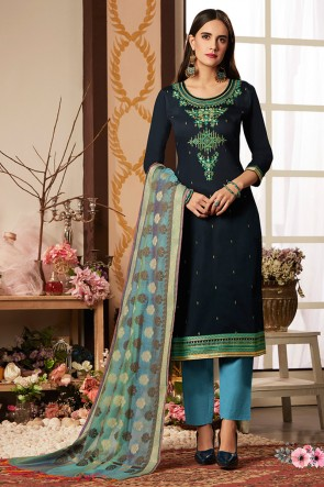 Embroidered Navy Blue Cotton Silk Casual Salwar Suit With Banarasi Silk Dupatta