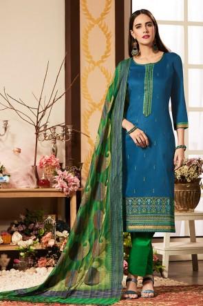 Excellent Blue Cotton Silk Embroidered Casual Salwar Suit With Banarasi Silk Dupatta