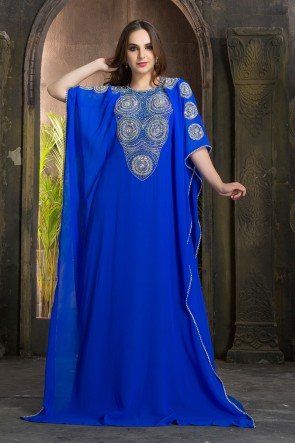 Blue Georgette and Crepe Embroidered Designer Kaftan