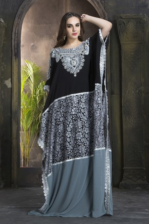 Embroidered Black and Grey Georgette, Crepe and Net Party Wear Kaftan