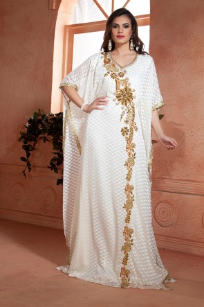 Gorgeous White Crepe and Brasso Embroidered Kaftan