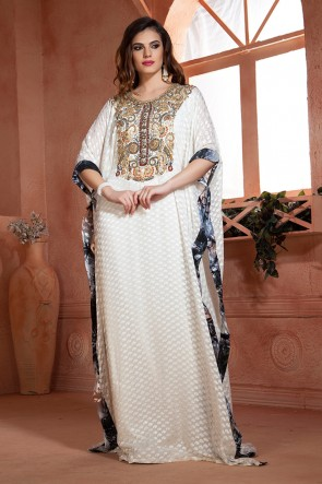 Graceful White Crepe and Brasso Embroidered Eid Special Kaftan