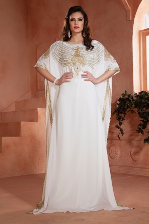 Embroidered White Crepe and Georgette Kaftan