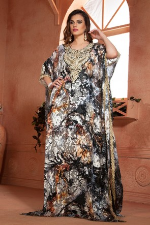 Black Brasso and Crepe Embroidered Eid Special Kaftan