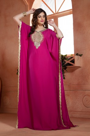 Magenta Satin, Crepe and Georgette Embroidered Kaftan