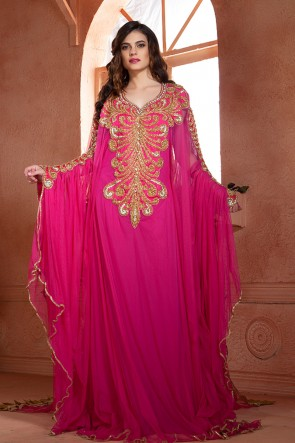 Pretty Magenta Net and Crepe Embroidered Kaftan